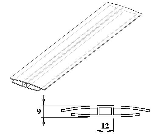 Polykarbonátový H-profil 6 mm 6m
