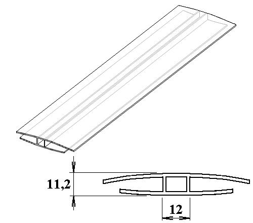 Polykarbonátový H-profil 8 mm 3m
