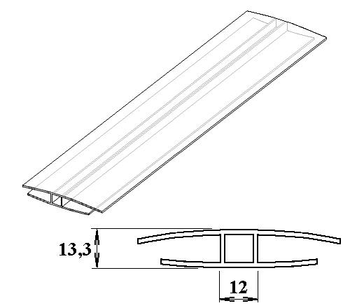 Polykarbonátový H-profil 10 mm 3m