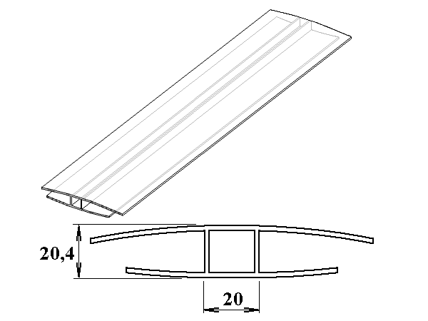 Polykarbonátový H-profil 16 mm 3m