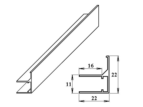 AL ukončovací / okrajový U/F-profil 8 mm 2.10m