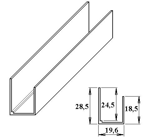 AL ukončovací U-profil 16 mm 2.10m