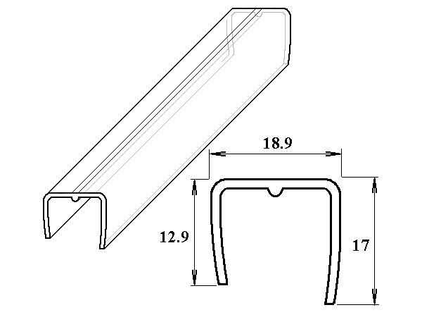 PC ukončovací U-profil 16 mm čirý 2.10m
