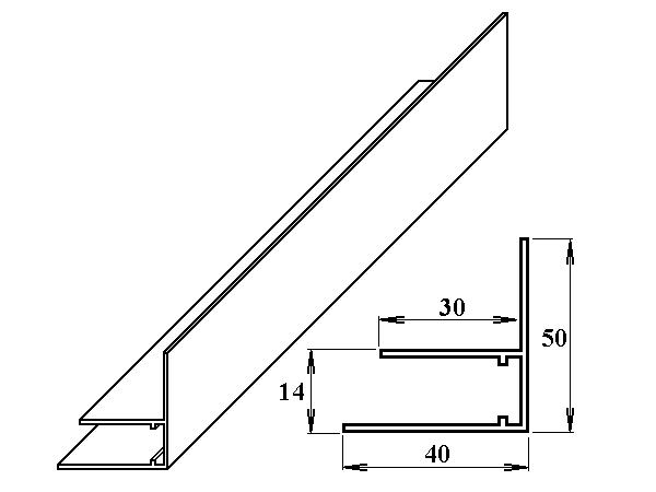 AL okrajový F-profil 10 mm 6m