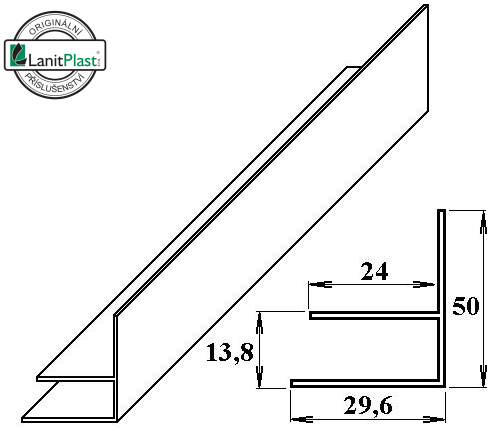 PVC okrajový F-profil 10 mm bílý 6m