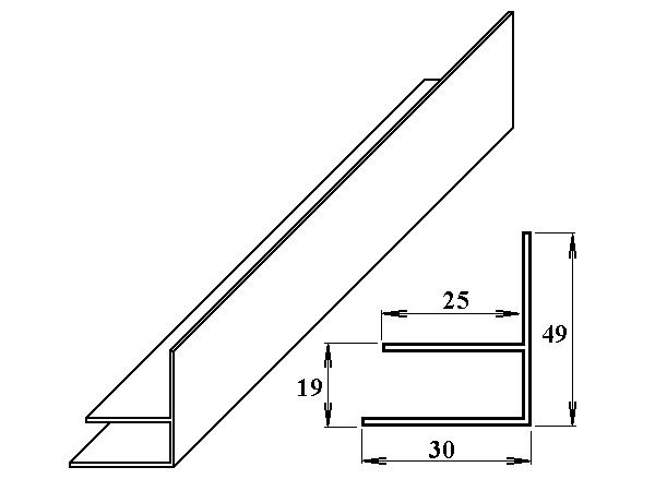 PVC okrajový F-profil 16 mm bílý 6m