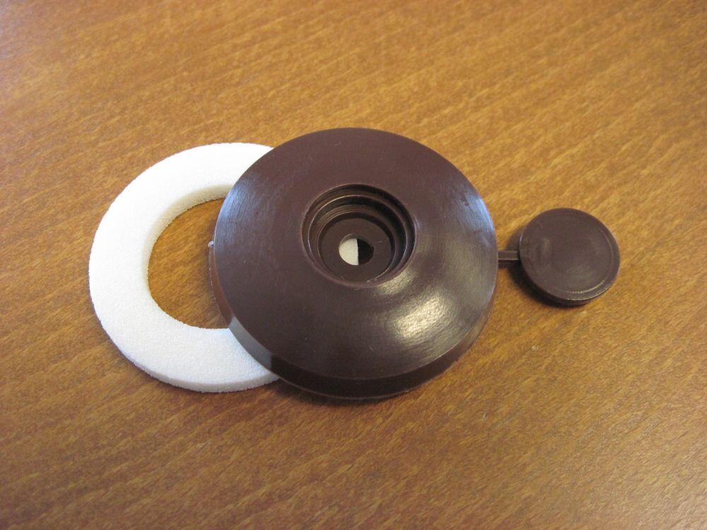 přítlačný terčík pro PC, hnědý PP, Ø 53 mm (1 ks)