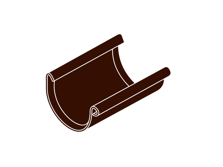 Spojka žlabu RG 125 půlkulatá hnědá barva