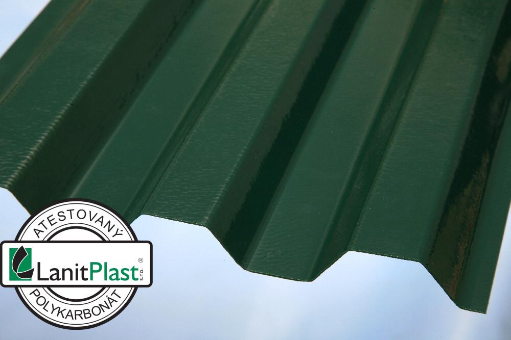 Trapézový polykarbonát Sunopak síla 0,8 mm zelený 1,26x6m