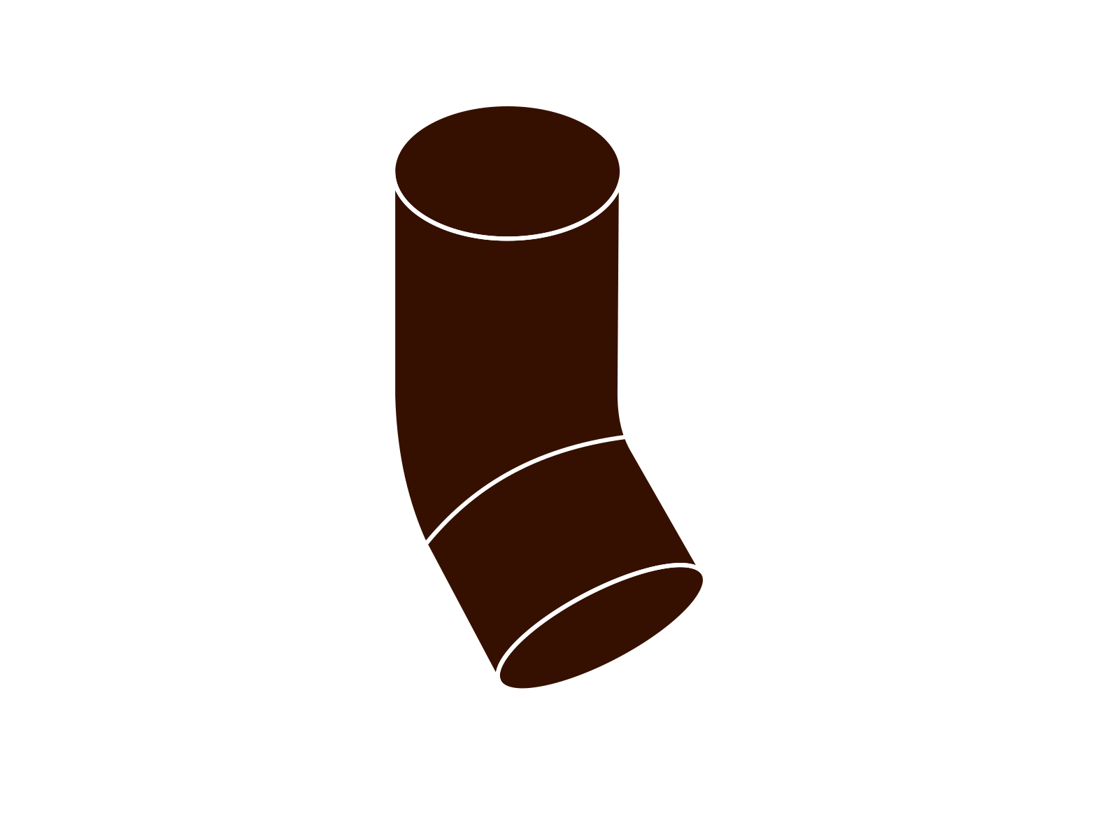 koleno svodu 45° DN 105 hnědá barva