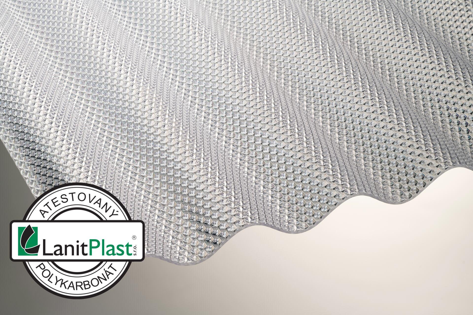 Vlnitý polykarbonát Marlon CSE Diamond síla 2,6 mm čirý 1,045x4m