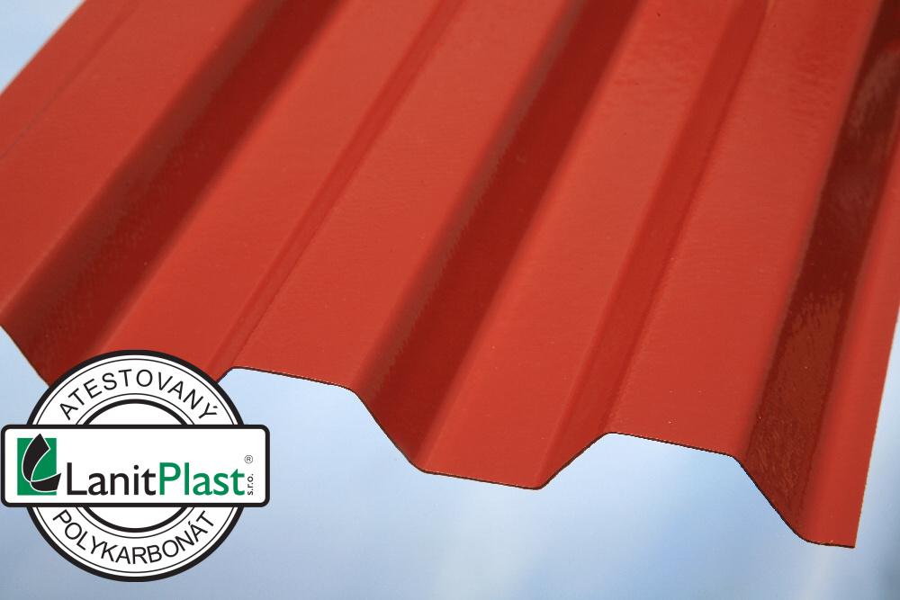 Trapézový polykarbonát Sunopak síla 0,8 mm červený 1,26x3m