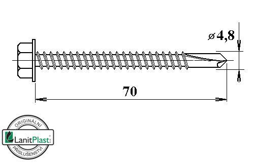 Šroub do železa TEX 4,8 x 70 mm šestihranná hlava (10 ks)