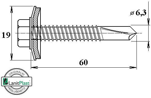 Šroub do železa TEX 6,3 x 60 mm šestihranná hlava (10 ks)