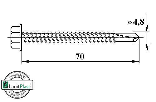 Šroub do železa TEX 4,8 x 70 mm šestihranná hlava (50 ks)