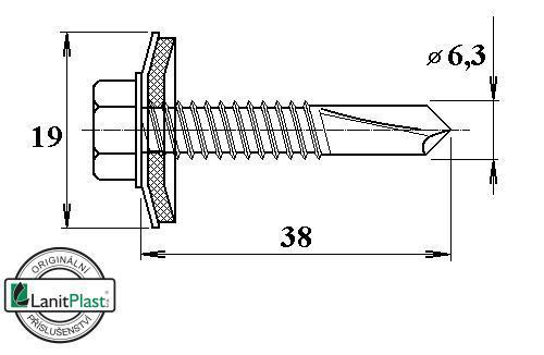 Šroub do železa TEX 6,3 x 38 mm šestihranná hlava (50 ks)