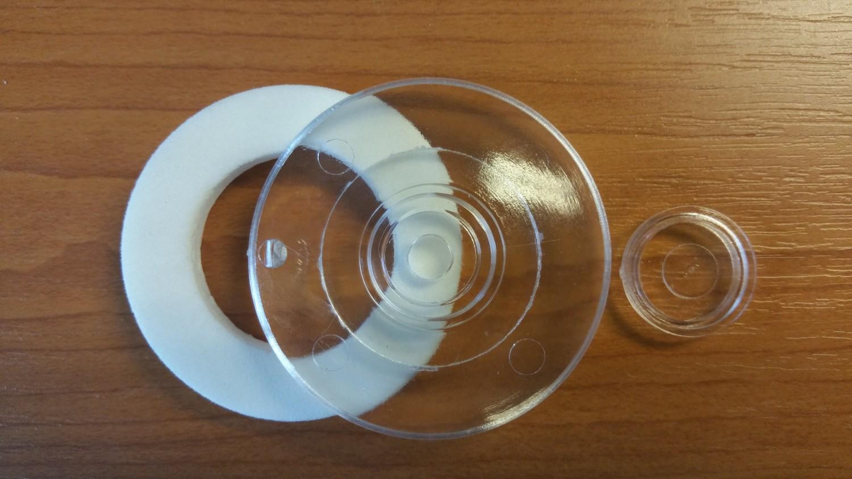 přítlačný terčík pro PC, čirý PC, Ø 53 mm (1 ks)