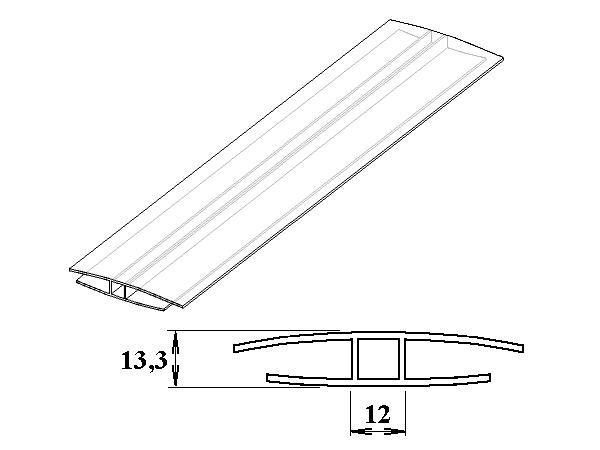 Polykarbonátový H-profil 8 - 10 mm 3m
