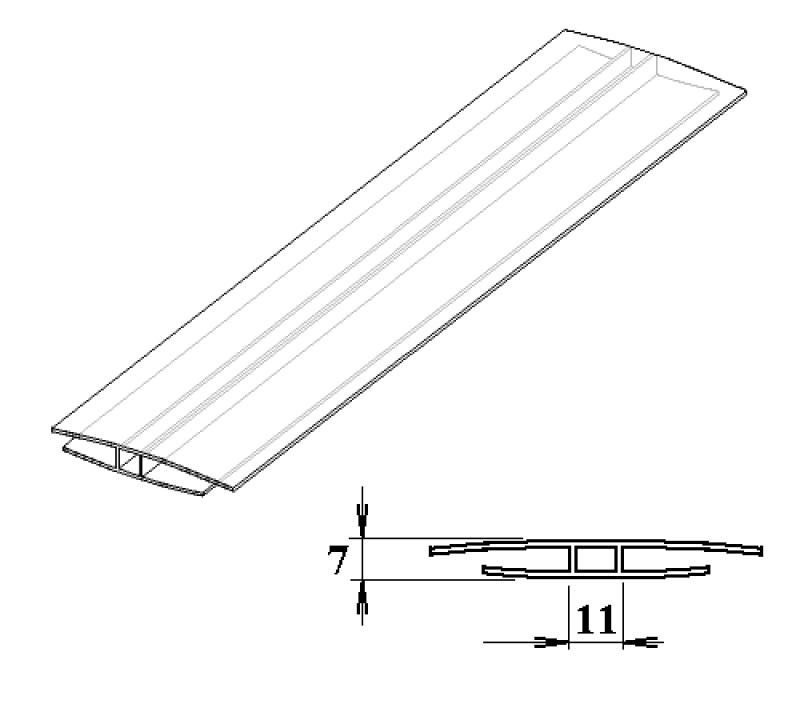 Polykarbonátový H-profil 4 mm 3m