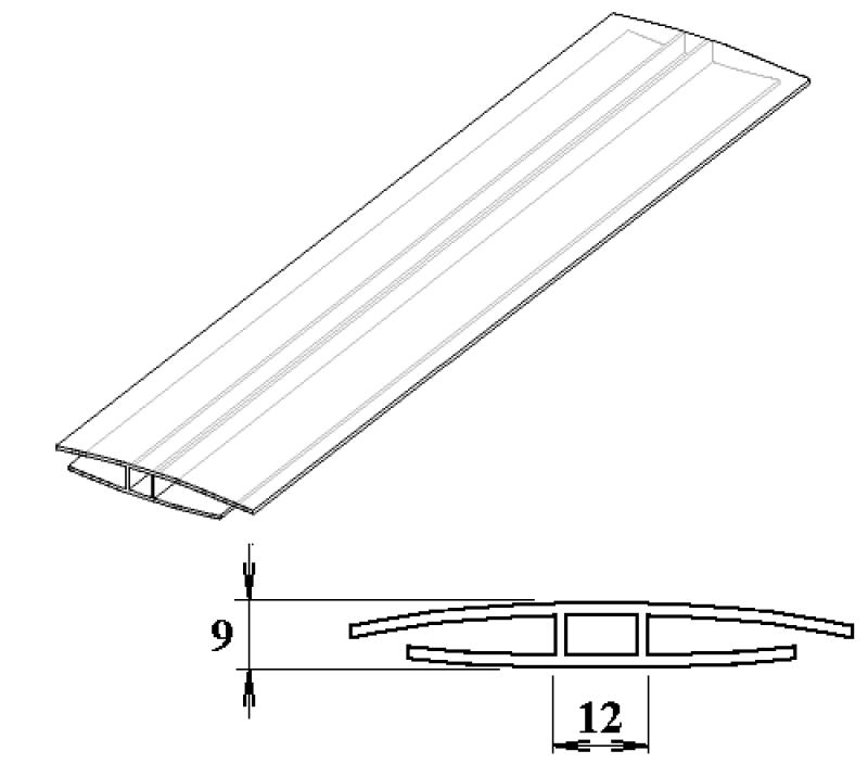 Polykarbonátový H-profil 6 mm 3m