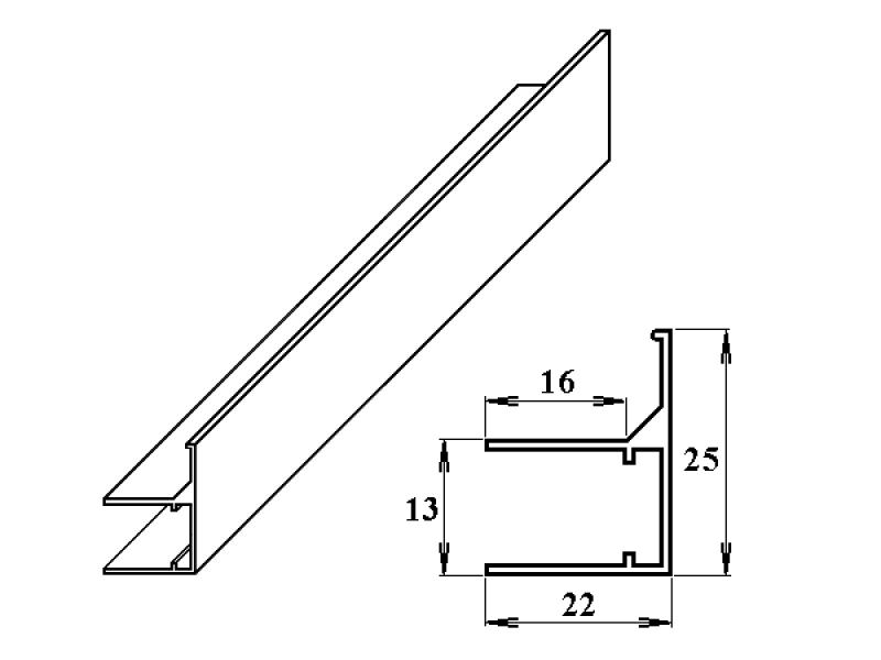 AL ukončovací/okrajový U/F-profil 10 mm 2.10m