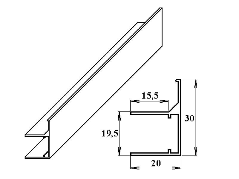 AL ukončovací/okrajový U/F-profil 16 mm 2.10m