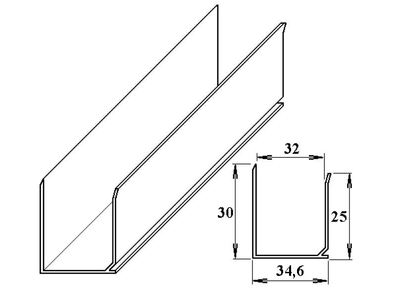 AL ukončovací U-profil 32 mm 6m