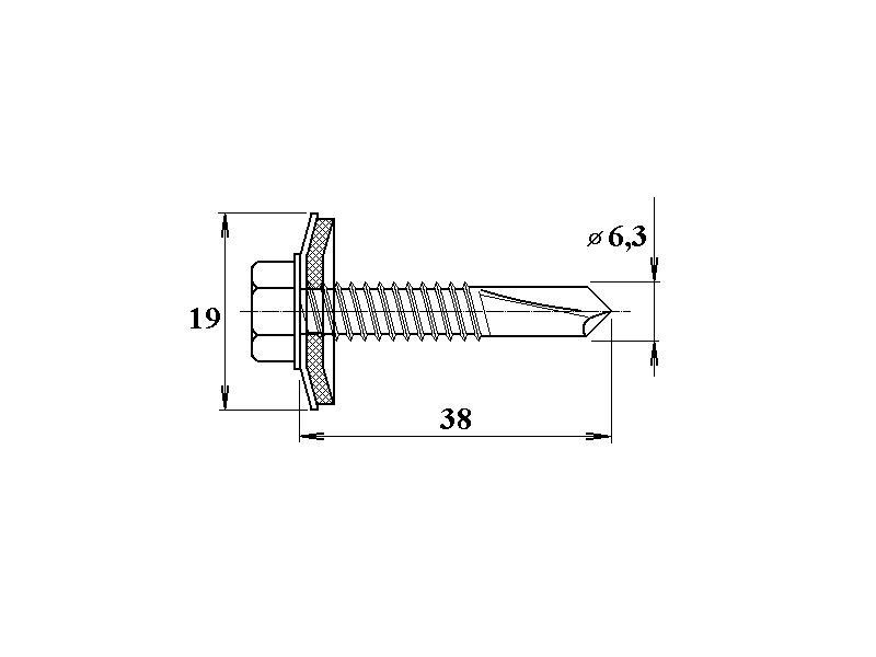 Šroub do železa TEX 6,3 x 38 mm šestihranná hlava