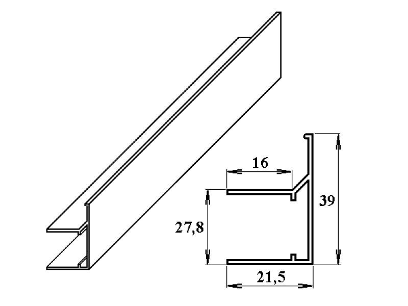 AL ukončovací/okrajový U/F-profil 25 mm 2.10m