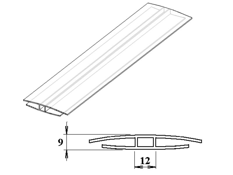 polykarbonátový H-profil 4 - 6 mm 3m
