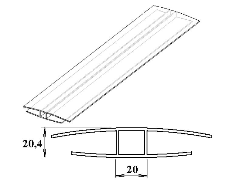 polykarbonátový H-profil 16 mm - VÝPRODEJ 5.80m