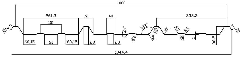 řez trapézem 333/39 SK