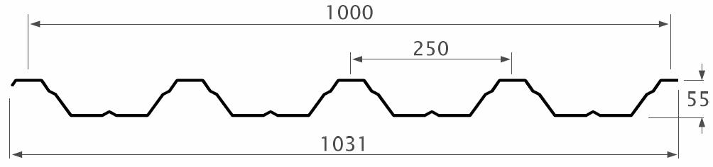 řez trapézem 250/55